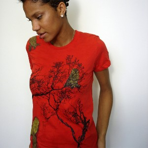 Owl Woman's -Sustainable Organic Cotton Scarlet