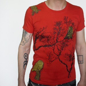 Owl Men's -Sustainable Organic Cotton Scarlet