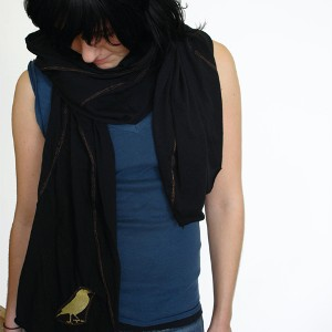 Birdie Scarf Sheer Jersey Scarf Black / Copper Stitching