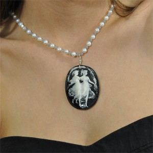 Black & White Dancing Women One of a Kind Ice Blue Freshwater Pearls